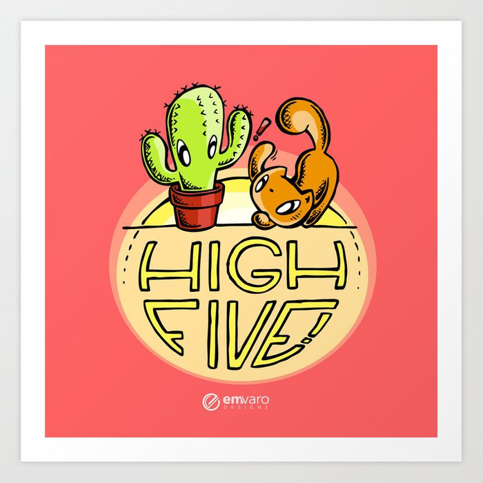Scribbles & Prickles: High five Art Print