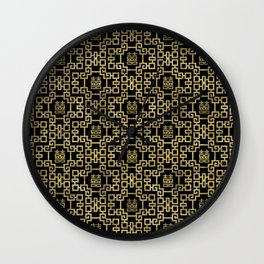 Chinese Pattern Double Happiness Symbol Gold on Black Wall Clock