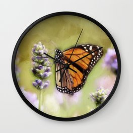 A Monarch and her Lavender Wall Clock