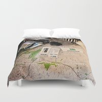 vintage map Duvet Covers featuring Map by Carmen Moreno Photography