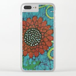 Kate's Flower Batik Clear iPhone Case