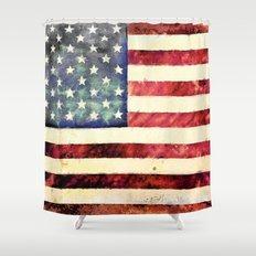 Vintage American Flag Shower Curtain