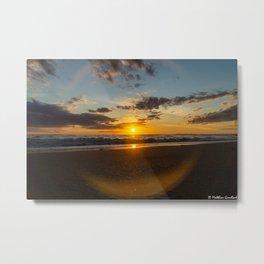 Sunset North Sea Waves Denmark Bjerregard Beach 6 Metal Print