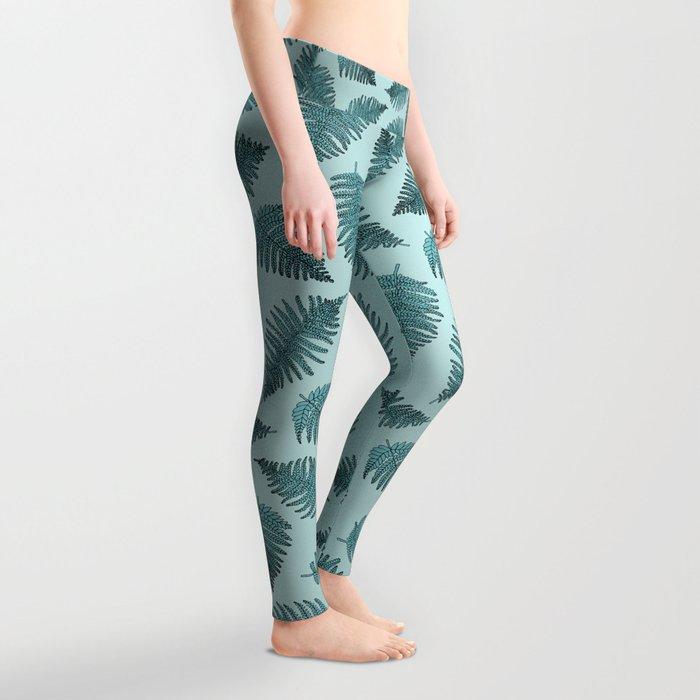 Blue fern garden botanical leaf illustration pattern Leggings