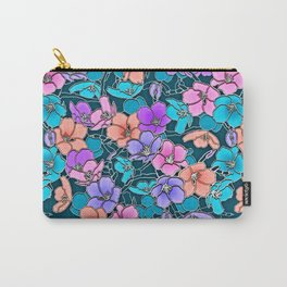 Modern abstract teal coral pink navy blue floral Carry-All Pouch