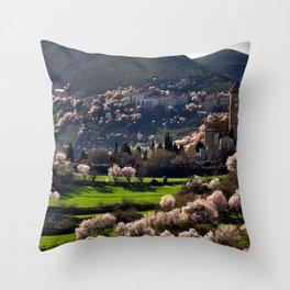 Church Italy Village Santo Stefano di Sessanio, Abruzzo Spring Mountains Houses Cities Flowering trees mountain Building Throw Pillow