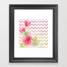 Chevron Flowers Framed Art Print