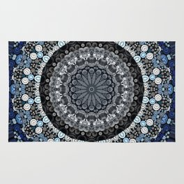 Dark Blue Grey Mandala Design Rug