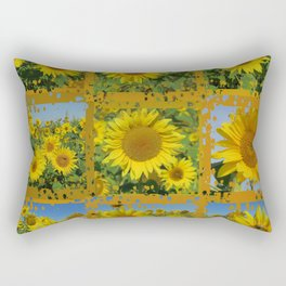 Collage of yellow sunflowers in summer, cheerful yellow flowers in front of bright blue sky Rectangular Pillow