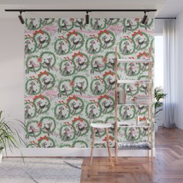POODLES celebrate CHRISTMAS with a pink ribbon Wall Mural