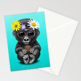 Cute Baby Gorilla Hippie Stationery Cards