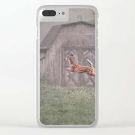 Leaping deer in front of barn with foggy background Clear iPhone Case