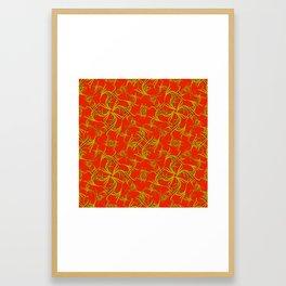 Brocade royal monograms in olive tones on a red background. Framed Art Print