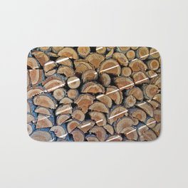 FIREWOOD WAITING IN THE WOODSHED Bath Mat