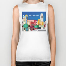 Ann Arbor, Michigan - Skyline Illustration by Loose Petals Biker Tank