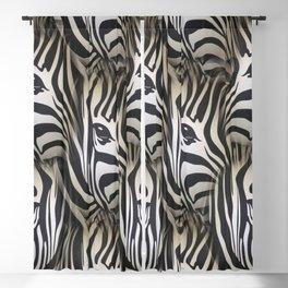 Black - White Silhouette Zebra repeat design Blackout Curtain