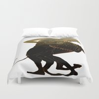 hercules Duvet Covers featuring Hercules and The Nemean Lion by taiche
