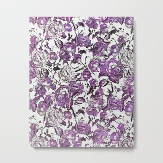 Purple Vintage Retro Flower Pattern Metal Print