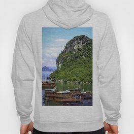 Limestone Mountain with Red Boats in the Sea in front of It at Halong Bay, Vietnam Hoody
