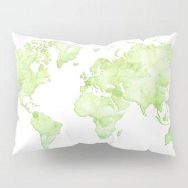 Green watercolor world map Pillow Sham