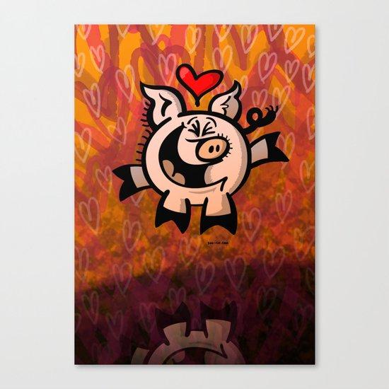 Pig Falling Head over Heels in Love Canvas Print