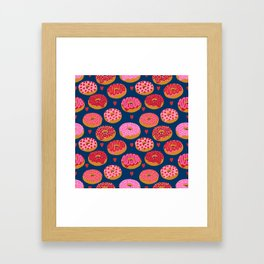 Pink and Red donuts hearts love valentines day cute gifts for foodie Framed Art Print