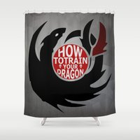 hiccup Shower Curtains featuring How To Train Your Dragon (Hiccup's Shield) by KitsuneDesigns