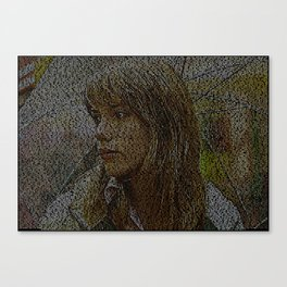 Text Portrait of Scarlet Johansson with full script of Lost in Translation Canvas Print
