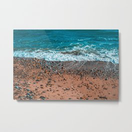 Orange bay with small stones and beautiful waves Metal Print