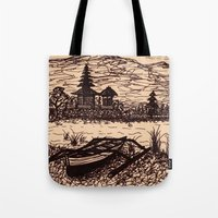 bali Tote Bags featuring Bali Boating by Erica Putis