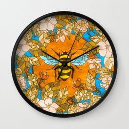 Bumblebee In Wild Rose Wreath Wall Clock