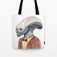 xenomorph Tote Bags featuring Xenomorph by Monsters in Plaid