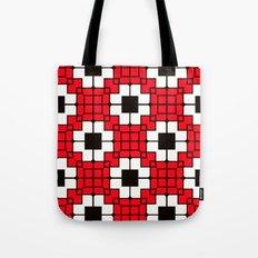 Retro Mosaic Red & Black Tote Bag