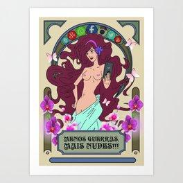 mulher selfie e flores Art Print