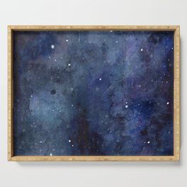 Galaxy Nebula Watercolor Night Sky Stars Outer Space Blue Texture Serving Tray