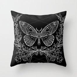 Moth Floral Throw Pillow