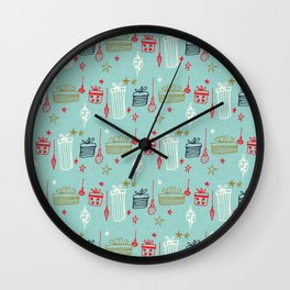 Christmas gift and ornaments Blue and Green Wall Clock