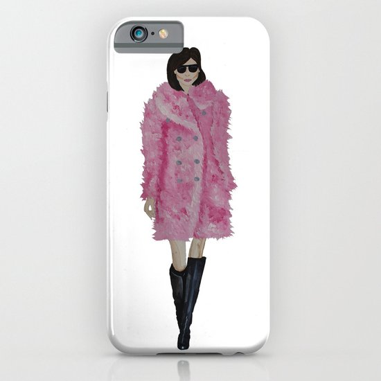 Fashion Illustration 'Kati' pink fluffy coat iPhone & iPod Case