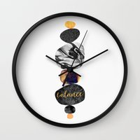 balance Wall Clocks featuring Balance by Elisabeth Fredriksson