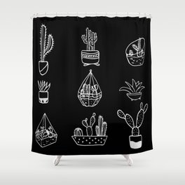 Minimalist Cacti Collection White on Black Shower Curtain