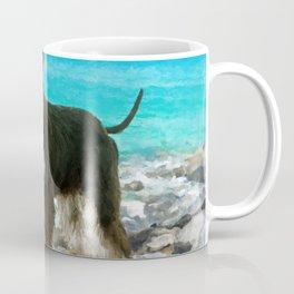Miniature Schnauzer on the beach Watercolor Coffee Mug