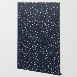 Midnight Navy Terrazzo #1 #decor #art #society6 Wallpaper