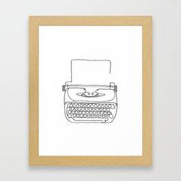 type writer single line drawing Framed Art Print