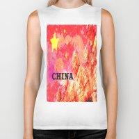 china Biker Tanks featuring China by Brian Raggatt