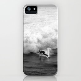 Lone Surfer in Black and White iPhone Case