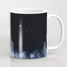 Contrail moon on a night sky Coffee Mug