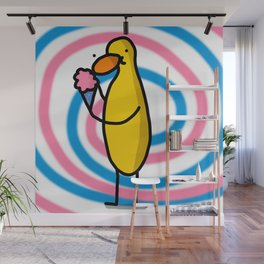 Pink & Blue Cotton Candy Duck Snacking | Veronica Nagorny  Wall Mural