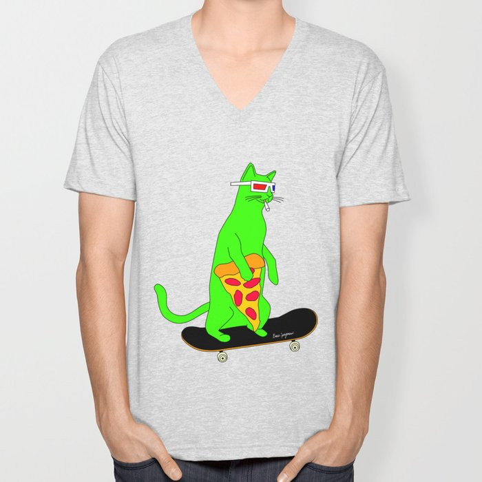 """Psychedelic Skateboarding Pizza Cat"", by Brock Springstead Unisex V-Neck"
