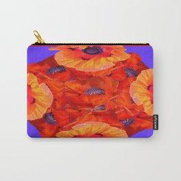 Red-Orange Oriental Poppies  P{urple Pattern Art Carry-All Pouch