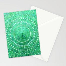 Green Floral Circle Mandala Stationery Cards